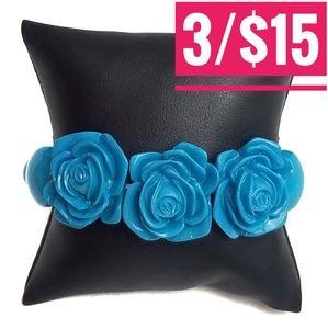 Blue Rose Resin Stretchy Bracelet